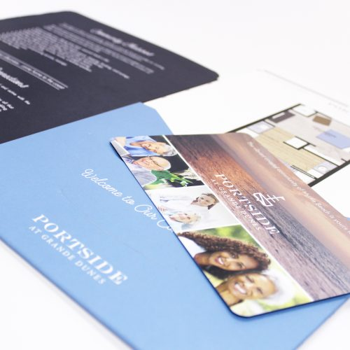 Welcome packet folder with inserts // Printing and finishing